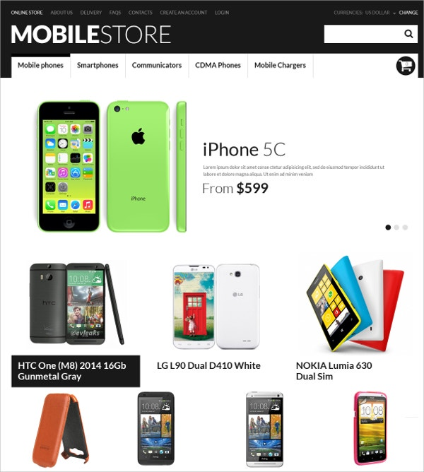 Premium Mobile Store VirtueMart Template $139