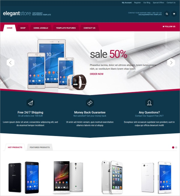 Elegant Mobile Store VirtueMart Template