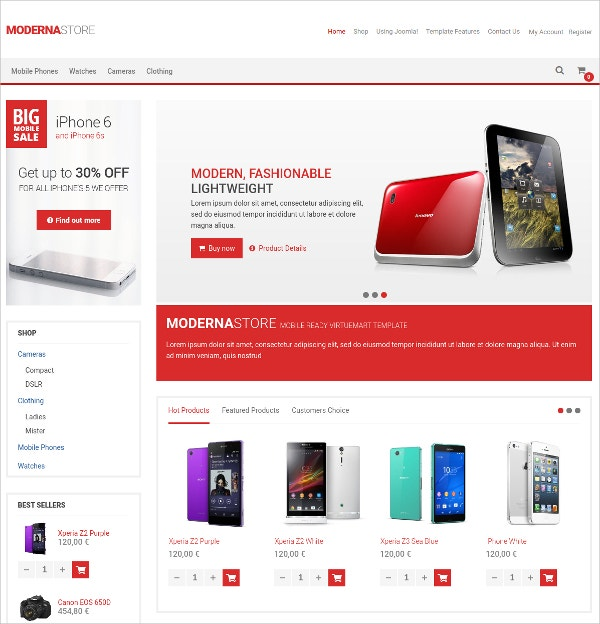 Modern Mobile Store VirtueMart Template