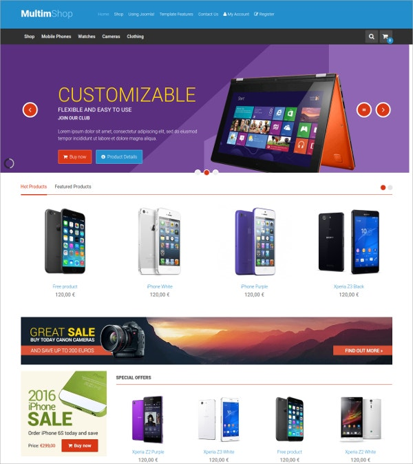 Multipurpose Mobile Store VirtueMart Theme