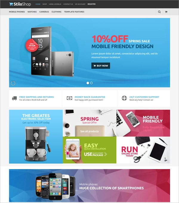 Professional Mobile Store VirtueMart Template