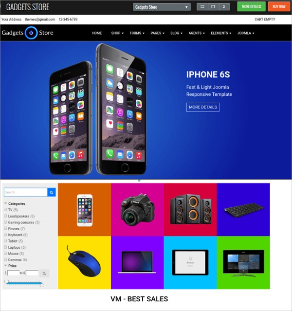 Gadgets Mobile Store VirtueMart Template
