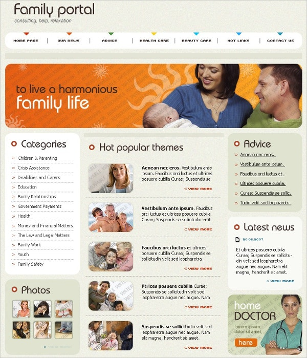 Free Family Portal Flash Animated Template