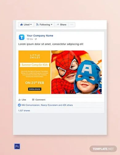 kids camp facebook ad banner template