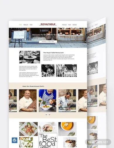 minimal restaurant wordpress theme template