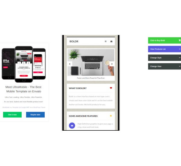 mobile template and google ajax amp