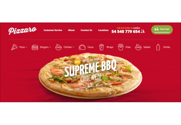 pizzaro food responsive magento theme