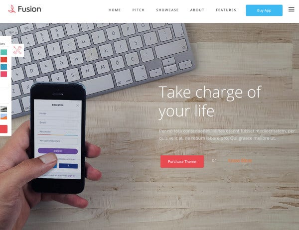 mobile app website landing wordpress theme