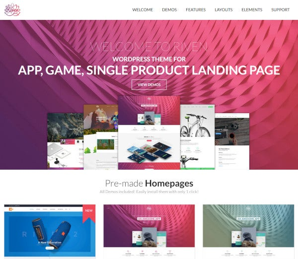 single product app landing page wordpress theme