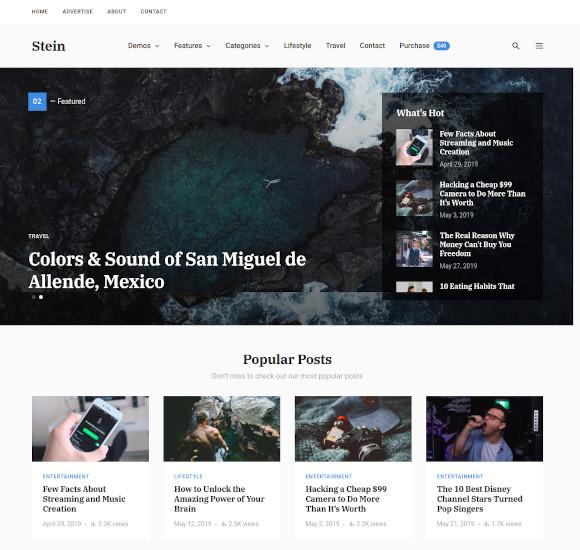 stein blog magazine wordpress theme