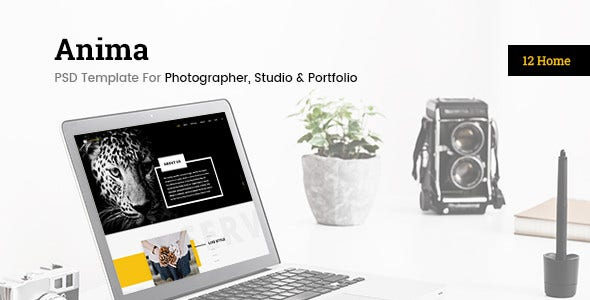 enima photographer studio portfolio psd template