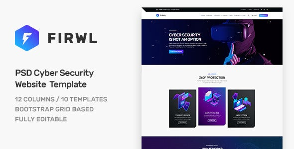 firwl cyber security psd website template