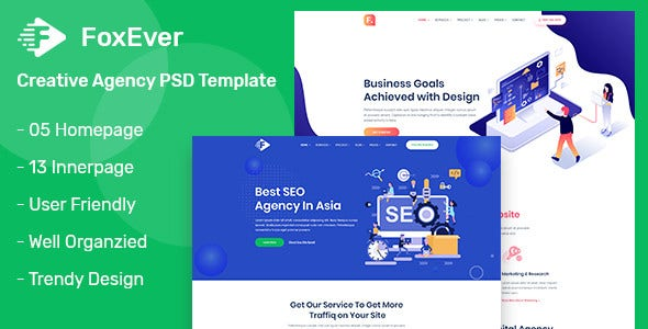 foxever creative agency psd template
