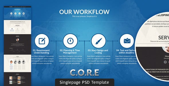 multipurpose single page psd template