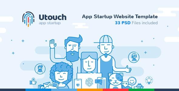 utouch app startup website psd template