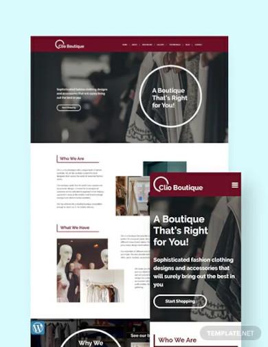 boutique wordpress theme template