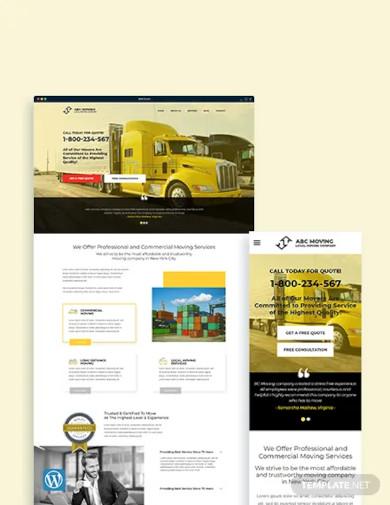 moving company wordpress theme template