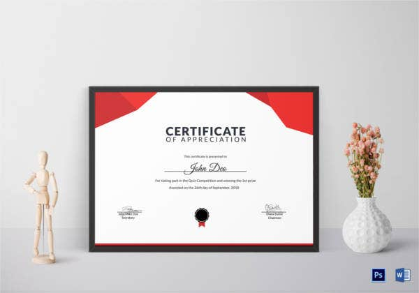 prize appreciation certificate template