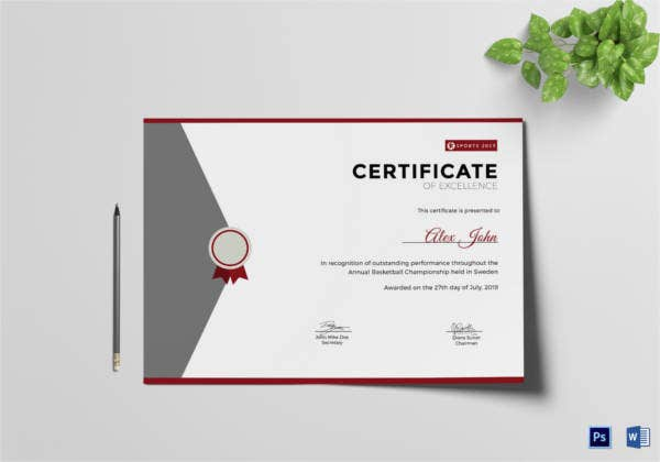 prize excellence certificate template