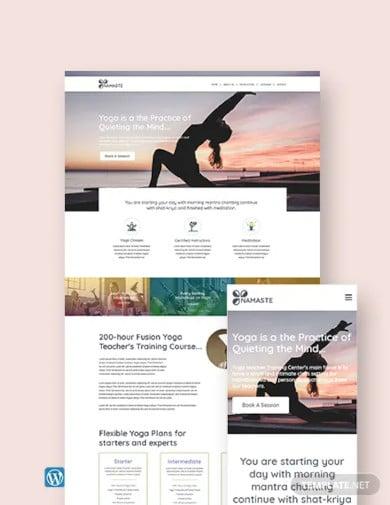 yoga instructor wordpress theme template