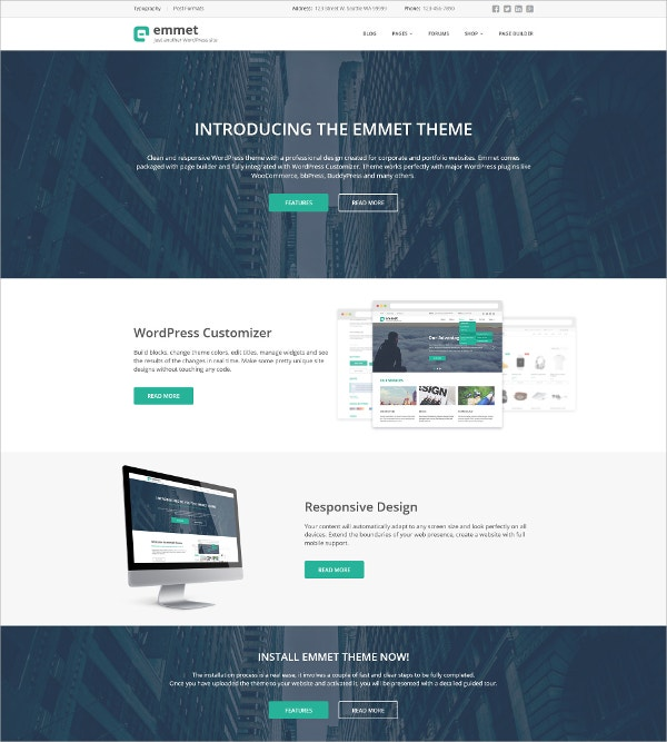 Responsive Corporate WordPress Website Theme $55