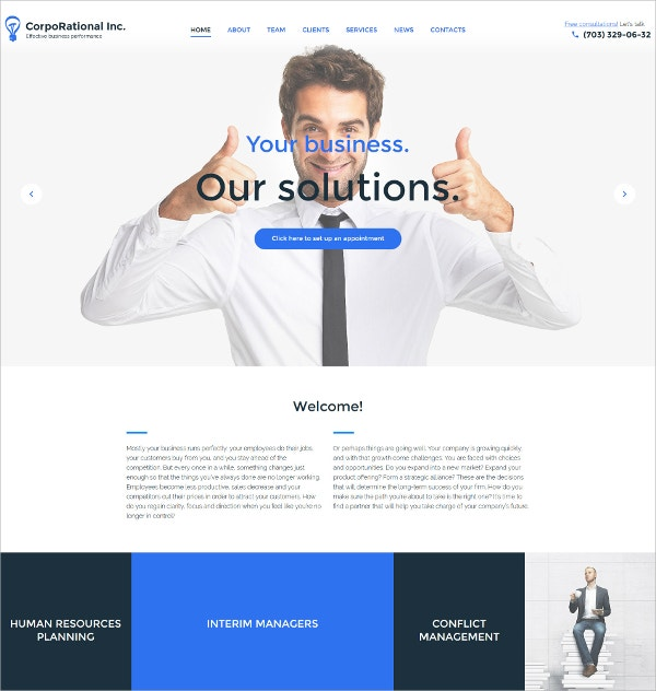 Corporate Resources planning WordPress Website Theme $75