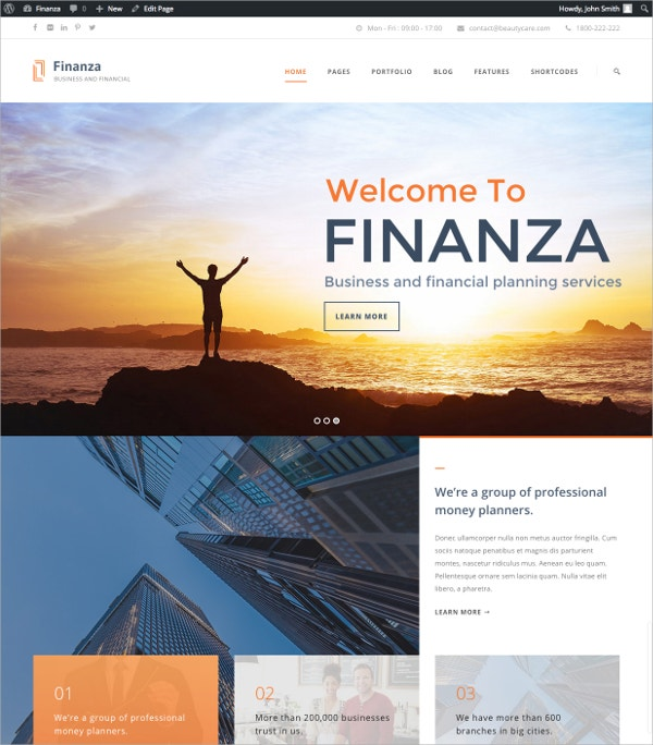 Business & Financial Accountant WordPress Website Theme $59