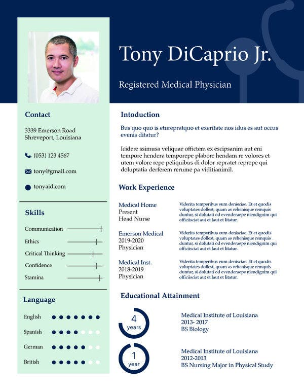 free-medical-student-resume-template
