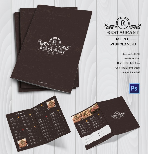 Restaurant Menu Bi-fold Template