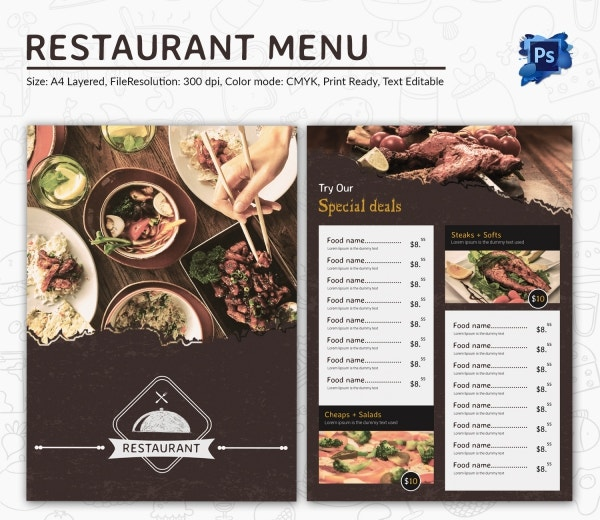 Food menu template 35 free word pdf psd eps for Resturant menu templates