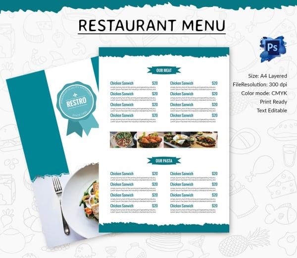 restaurant menu template 45 free psd ai vector eps. Black Bedroom Furniture Sets. Home Design Ideas
