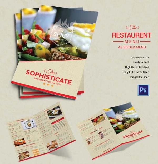 Restaurant Bi-fold Menu Template
