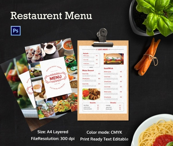 Premium Restaurant Menu Template