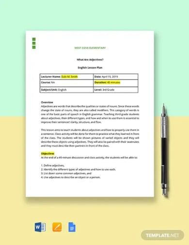3rd grade lesson plan template
