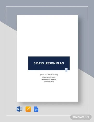 5 day lesson plan template