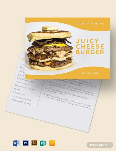 burger recipe card template