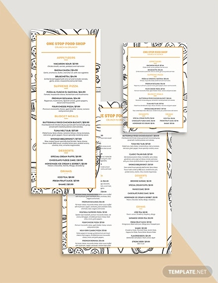 classic food and drinks menu template