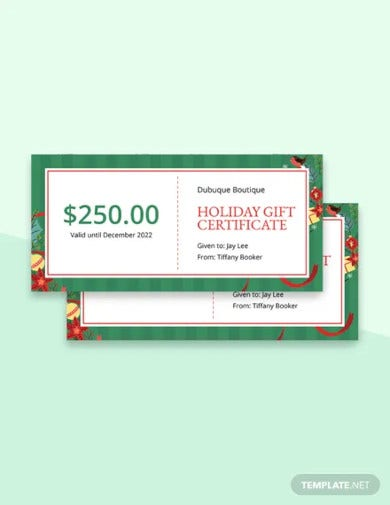 creative holiday gift certificate template