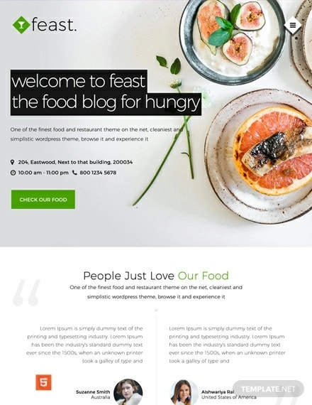 free food blog html5 and css3 website