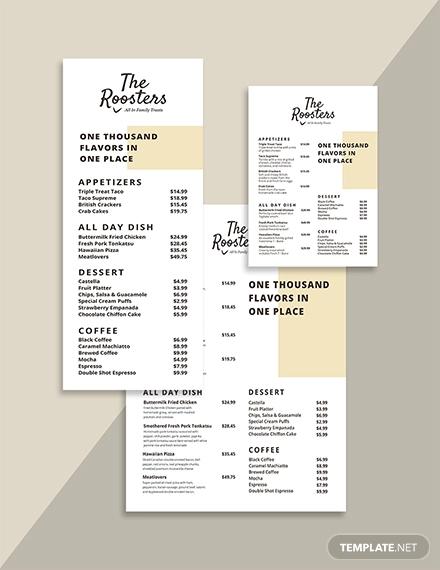 menu card template