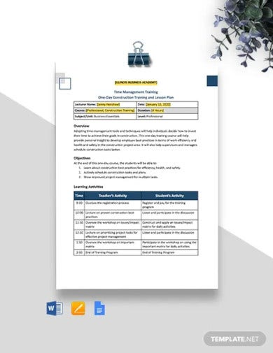 one page construction lesson plan template