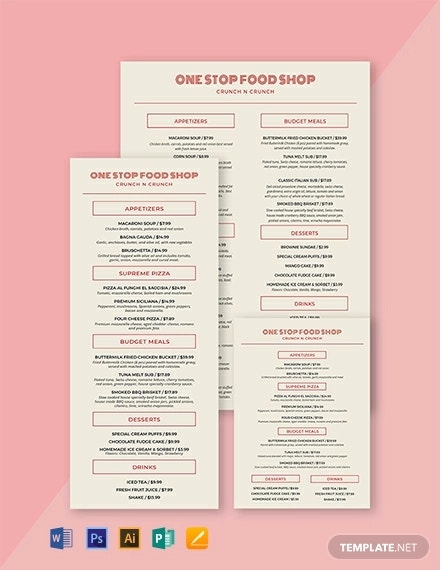restaurant food and drinks menu template