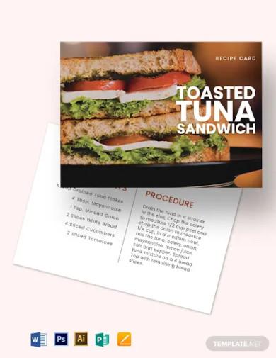 sandwich recipe card template