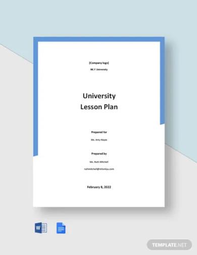 university lesson plan template