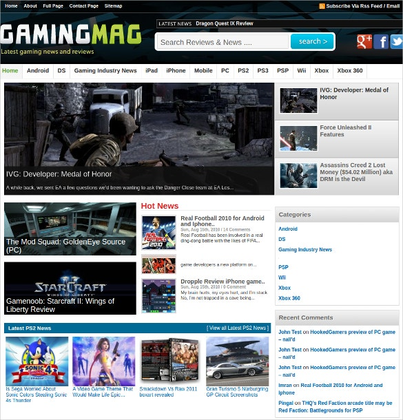 Gaming News WordPress Website Theme $59
