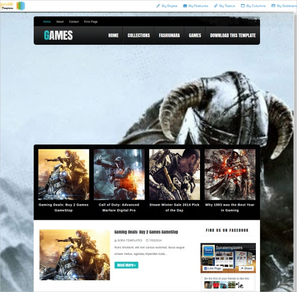 Dark Games Blogger Website Template