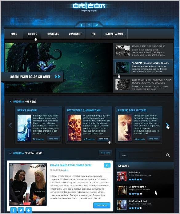 Gaming Portfolio PSD Website Template $10