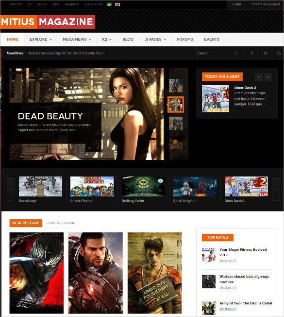 Responsive Gaming Joomal Website Template $59