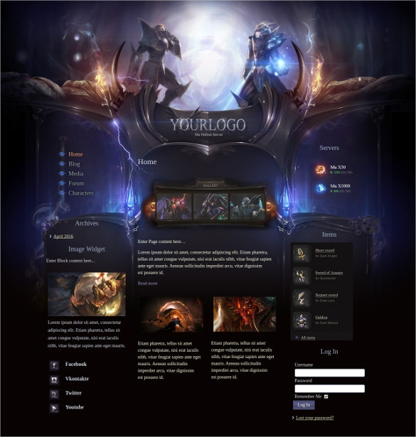 Heroes Online Gaming Joomla Website Template $35