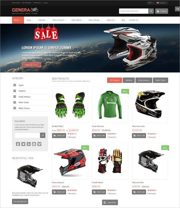 Responsive Online Sports Store Magento Theme $84